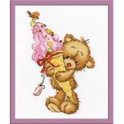 Сладкоежка, набор для вышивания крестиком, 12х17см, мулине хлопок 13цветов Овен