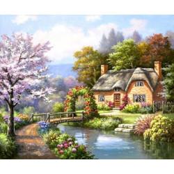 Дом у реки, набор для изготовления картины стразами 60х45см 45цв. полная выкладка, АЖ