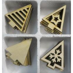 Ёлочки-треугольнички, набор заготовок фанера 3мм, размер фигур 5х5см 24шт NK