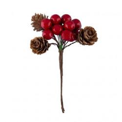 Букет из ягод калины и шишек, декоративный элемент для флористики 1,2см. Blumentag