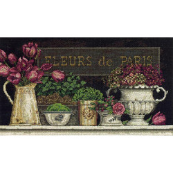 Цветы Парижа, набор для вышивания крестиком, 36х20см, Dimensions