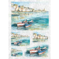 Лодки у причала, бумага рисовая для декупажа, 32х45 см. Love2Art