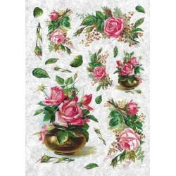 Розы в вазе, бумага рисовая для декупажа, 32х45 см. Love2Art