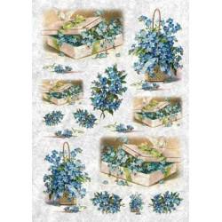 Голубые цветы, бумага рисовая для декупажа, 32х45 см. Love2Art