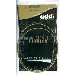 Спицы, круговые, супергладкие, никель, №3, 100 см, Addi