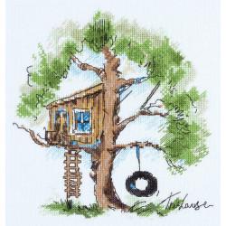 Домик на дереве, набор для вышивания крестиком, 20х22см, 20цветов Panna