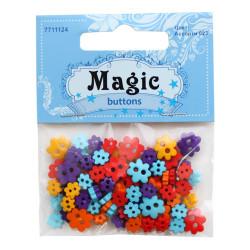 Цветы, набор пластиковых пуговиц, 5г/уп