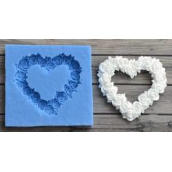 Сердце из цветов 5х5см, молд силиконовый универсальный. АП