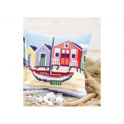 На пляже, подушка для вышивания, канва 100% хлопок, нитки 100% акрил 40х40 см