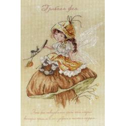 Грибная Фея, набор для вышивания крестиком на дизайнерской канве 30х20см, 25цветов МП-студия