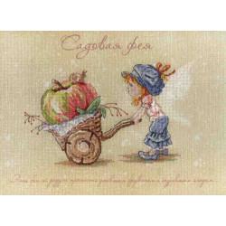 Садовая Фея, набор для вышивания крестиком на дизайнерской канве 20х27см, 26цветов МП-студия
