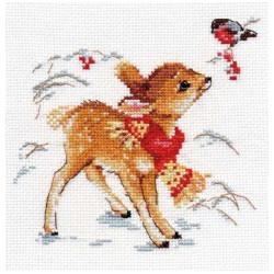 Олененок, набор для вышивания крестиком, 14х14см, 15цветов Алиса