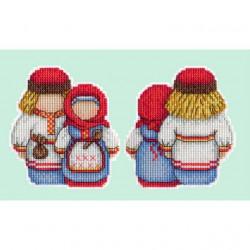 Оберег. Крупеничка и Богач, набор для вышивания кр-м на пластиковой канве 11х11см,17цветов Жар-птица