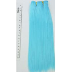 Голубой прямой, трессы искуственные 25х100см волосы для кукол