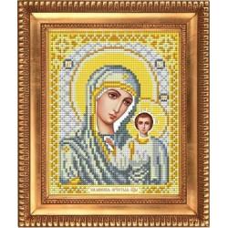 Казанская Божия Матерь в белом, ткань с рисунком для вышивки бисером 13,5х16,5см. Благовест