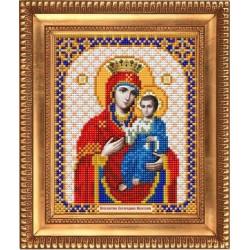 Иверская Пресвятая Богородица, ткань с рисунком для вышивки бисером 13,5х16,5см. Благовест