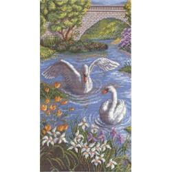 Лебединая верность, набор для вышивания крестиком, 18х33см, 33цветов Panna
