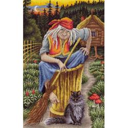 Баба-Яга, набор для вышивания крестиком, 25х35см, 50цветов Panna