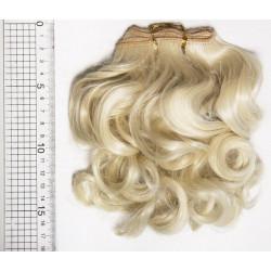 Блонд кудрявый, трессы искуственные 25х100см волосы для кукол