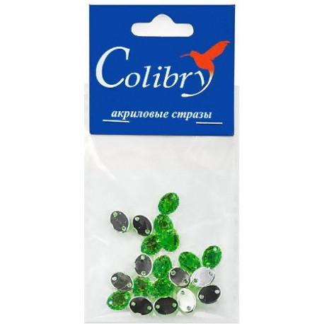 Зеленый овальные, стразы акриловые пришивные, 6х8мм, 20шт. Colibry