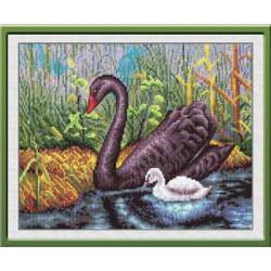 Черный лебедь, набор для вышивания крестиком, 29х20см, 39цветов Panna