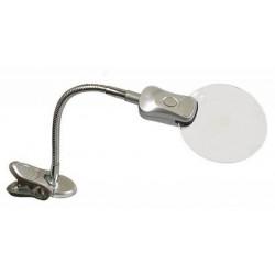 Лупа с гибким держателем с зажимом и подсветкой d 107мм, увеличение 2х, 6х
