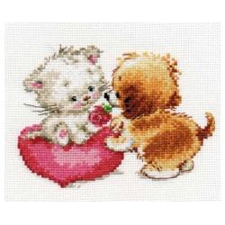 Ты мне нравишься, набор для вышивания крестиком, 15х11см, 18цветов Алиса