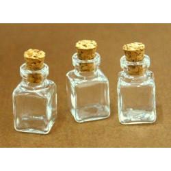 Набор стеклянных бутылочек с пробкой 14*25мм, 3 шт