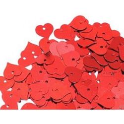 Красный, пайетки-сердце россыпью 13 мм 10г, Zlatka