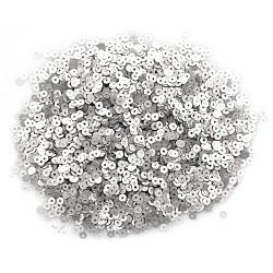 Серебро, пайетки круглой формы с матовым эффектом 3 мм 10г, Zlatka