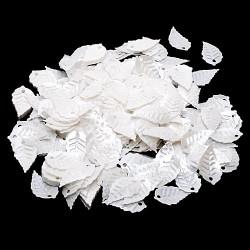 Белый, пайетки в форме листика с жемчужным эффектом 16*9 мм 10г, Zlatka