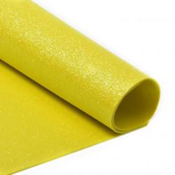 Желтый, фоамиран глиттерный 2мм 20*30 см