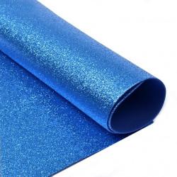 Синий, фоамиран глиттерный 2мм 20*30 см