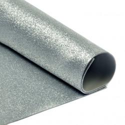 Серебро, фоамиран глиттерный 2мм 20*30 см