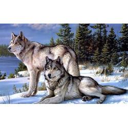 Волки, набор для изготовления картины стразами 30х48см 42цв. полная выкладка Гранни