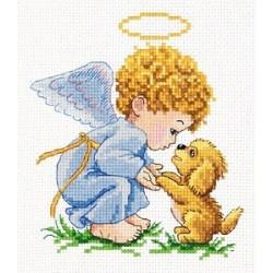 Мой добрый ангел, набор для вышивания крестом 13х14см мулине хлопок 18цв. канва Aida№14 ЧИ