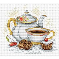 Утренний чай, набор для вышивания крестиком 15х15см, 17цветов Жар-птица