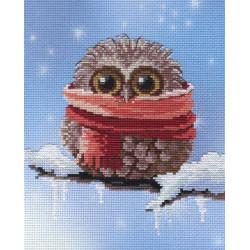 Совенок зима, набор для вышивания крестиком 20х20см, 16цветов МП-студия
