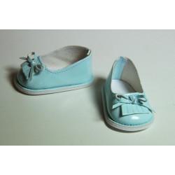 Туфли лаковые голубые, длина стопы 7см. Кукольная обувь