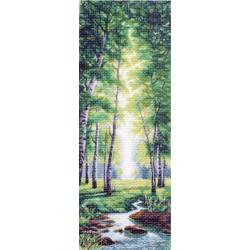 Весенний полдень, канва с рисунком для вышивки нитками 40х90см. Матрёнин посад
