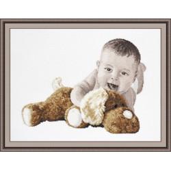 Любимая игрушка, набор для вышивания крестиком, 36х26см, мулине хлопок 15цветов Овен