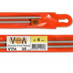 Прямые спицы, с металлическим покрытием 35см, №4,0. Visantia