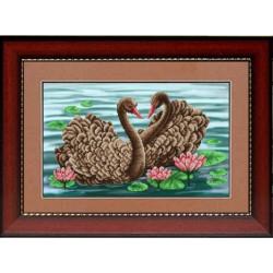 Лебединая пара, ткань с рисунком для вышивки бисером 40.5х27см. Благовест