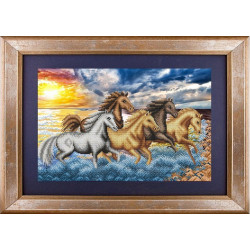 На берегу океана, ткань с рисунком для вышивки бисером 40.9х26,5см. Благовест