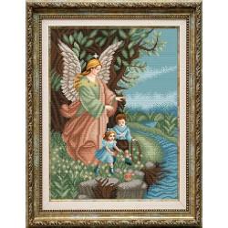 Ангел Хранитель, ткань с рисунком для вышивки бисером 28.5х38см. Благовест