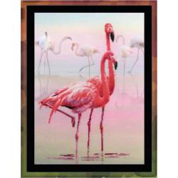 Фламинго, набор для вышивания крестиком, 30х40см, 14цветов, частичная Риолис