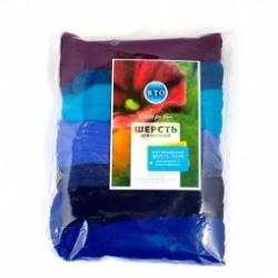 Ассорти оттенки синего, 100% Шерсть для валяния РТО (100г±5г)
