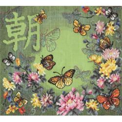 Танцующие мотыльки, набор для вышивания крестиком, 33х28см, 42цвета Panna