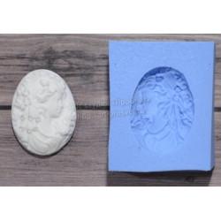 Камея Дама с локонами малая, молд силиконовый универсальный. АП