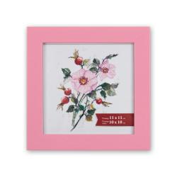 Розовый, рамка пластиковая с оргстеклом 11х11см